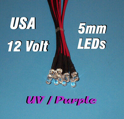 10 Pcs Led - 5mm Pre Wired Leds 12 Volt Uv Purple 12v Prewired