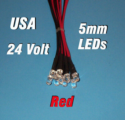 10 Leds 5mm Pre Wired 24 Volt Red 24v Prewired