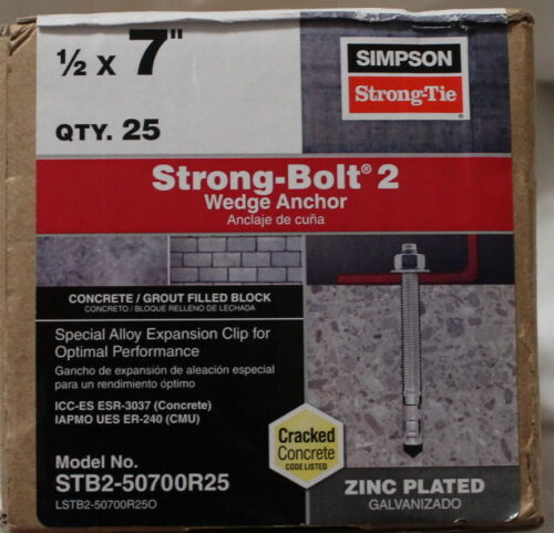 "Box of 25 Simpson 7"" x 1/2"" Strong-Bolt 2 Wedge Anchor - STBE-50700R25 - NEW"