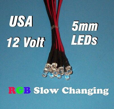 10 X Led - Rgb Slow Changing 5mm Pre Wired Leds 12 Volt 12v Dc Usa