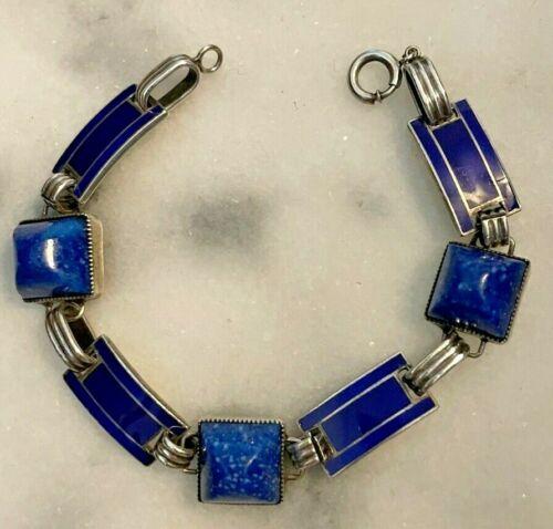 ART DECO STERLING SILVER BLUE ENAMEL GLASS LAPIS BRACELET 1930s