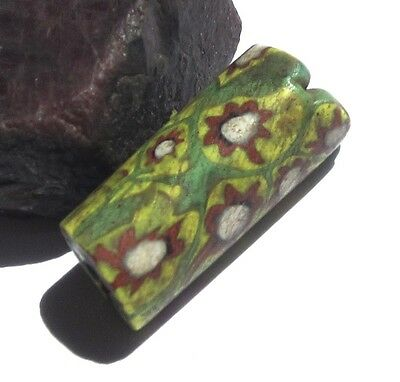RARE OLD AMAZING GREEN VENETIAN MILLEFIORI ANTIQUE BEAD AFRICAN TRADE 10mmx 24mm