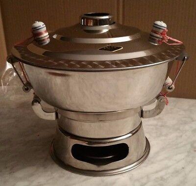 Feuertopf / Mongolentopf/ Fondue /Hot Pot Edelstahl  incl. Rezept u. Zubehör NEU