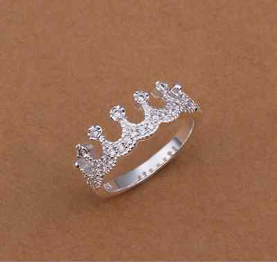 Last one Fashion style 925 silver Plated crown w/FULL zircon Lovely Girls ring Crown Style 925 Silver Ring