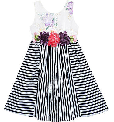 US STOCK Girls Dress Sleeveless Halter Peony flower Print Blue Pink Size 4-10
