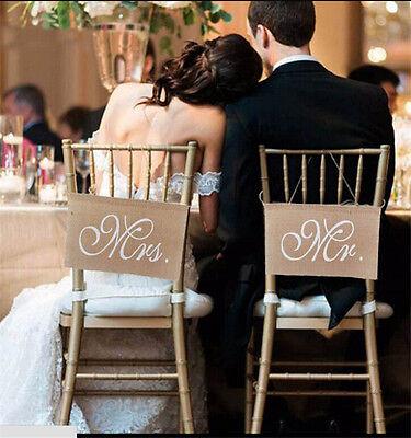 2pcs Mr Mrs Burlap Chair Sashes Sash Banner Jute Hanging Bunting Wedding ParEF