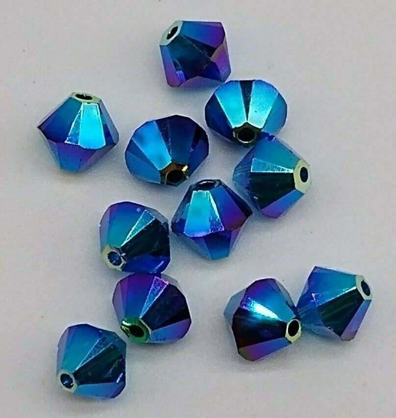 11pc Swarovski Crystal Dark Indigo AB2X 6mm Bicone 5328 Bead
