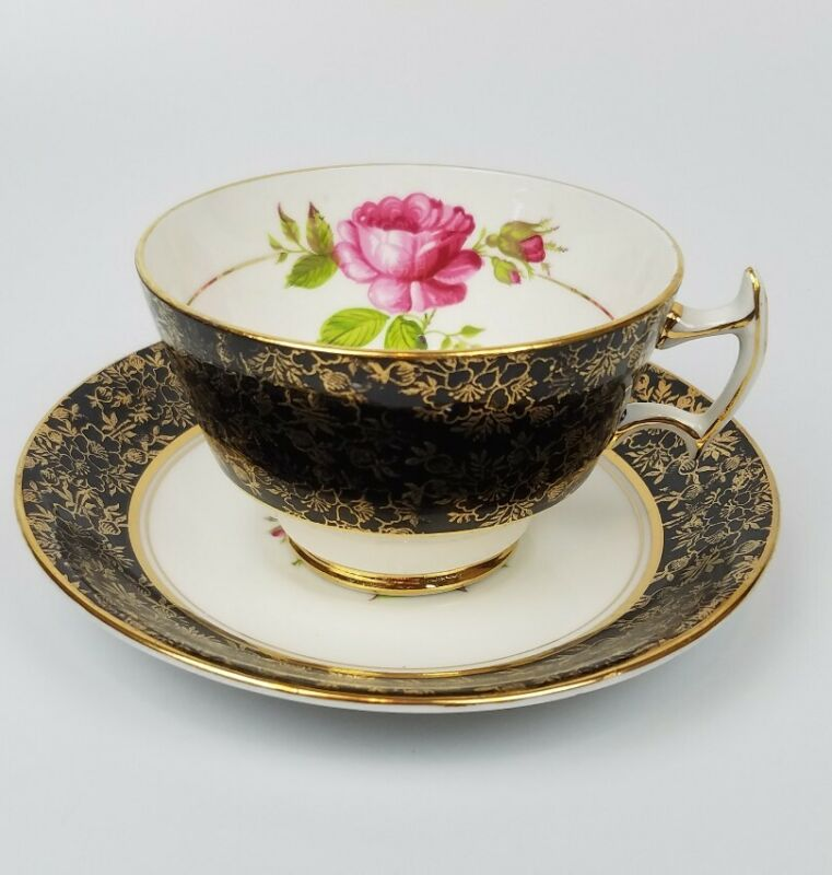 STAFFORDSHIRE HOUSE BONE CHINA  ROSE TEA CUP AND SAUCER