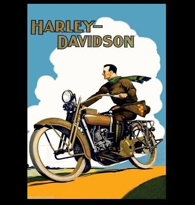 Vintage Harley Davidson Motorcycle PHOTO Poster Art Advertisement Rider w/Scarf