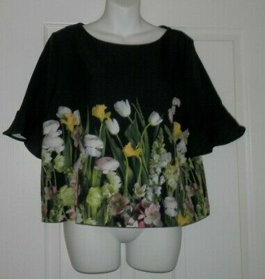 Victoria Beckham Target Black Floral Shirt Short Ruffle Sleeves Large