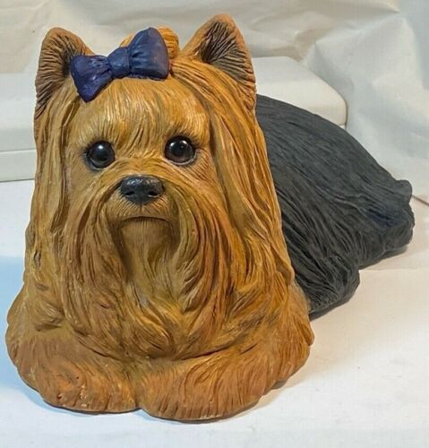 Yorkshire Terrier Yorkie Purple Bow Sandicast Dog Figurine Signed Sandra Brue