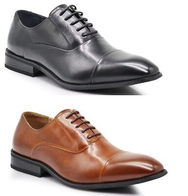 Eyelet Lace Up Mens Dress (Men's Classic Cap Toe Straight Cap 5 Eyelet Lace Up Dress Formal Oxford Shoes FL)