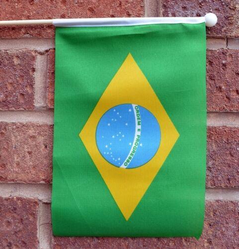 "BRAZIL HAND WAVING FLAG medium 9"" X 6"" wooden pole flags BRAZILIAN BRAZILIA"