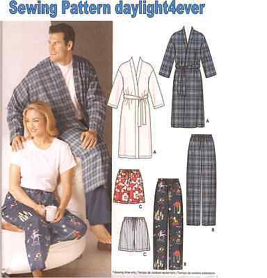 Men Women Pajamas Sleep Pants Shorts Robe Sewing Pattern 5314 New Size S-L #r