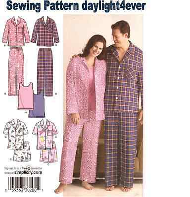(Women Men Pajamas Knit Tank Top Sewing Pattern 3971 New Easy S-M-L #u)