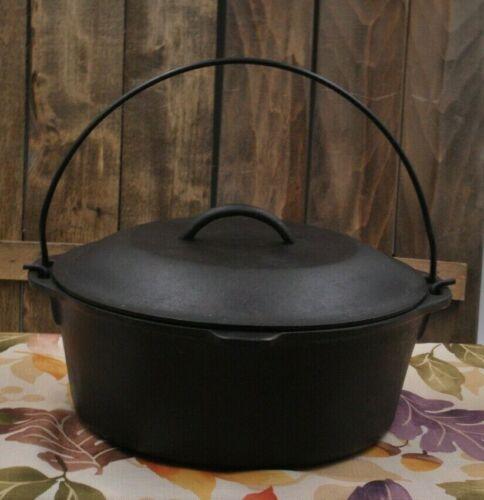 Vintage #8 Lodge (5 QT) Cast Iron Dutch Oven With Lid - Restored
