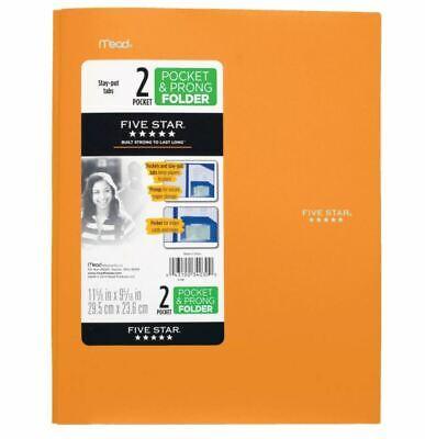 Lot Of 25 Mead Five Star 2 Pocket Plastic Folders W Prongs Orange Stay-put Tabs