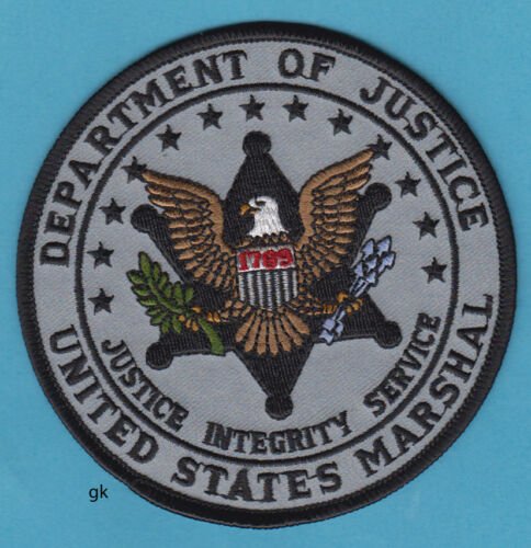 "DEPARTMENT OF JUSTICE US MARSHAL SHOULDER  PATCH ( Subdued  Gray - 4 "")"