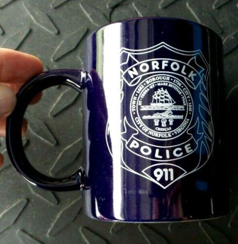 NORFOLK VIRGINIA POLICE COFFEE MUG CUP WITH OATH OF OFFICE