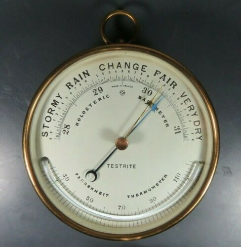 Antique Maritime French Brass PHNB Holosteric Barometer TESTRITE Thermometer