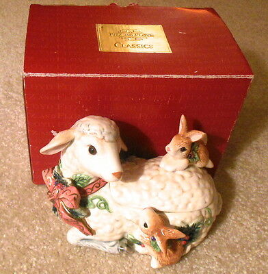 Fitz & Floyd Peaceable Kingdom LAMB WITH RABBITS Covered Candy Dish Trinket Box