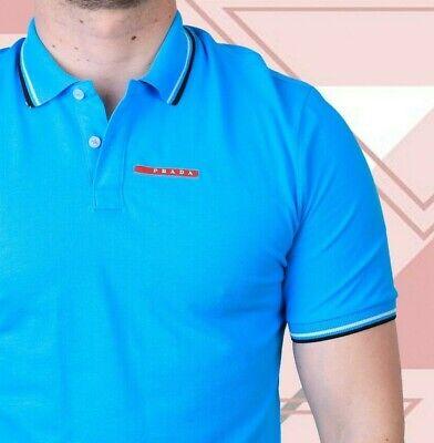 PRADA T Shirt Polo Blue Size M NEW Men Cotton Casual Short Sleeves