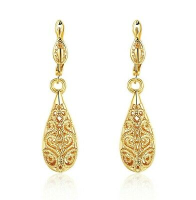 "1.6"" Drop Leverback Earrings 14k Yellow Gold Plated Crystal Cut ITALIAN MADE"
