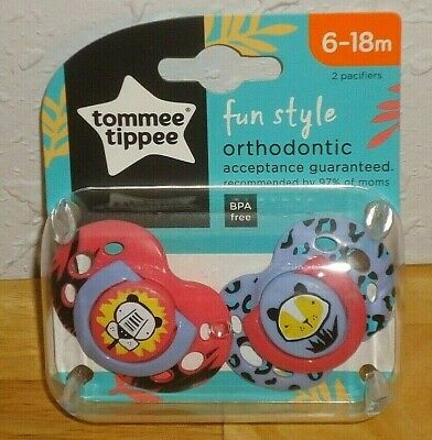 Tommee Tippee Fun Style Orthodontic Pacifiers Baby 6-18 Months 2 PACK BPA-Free