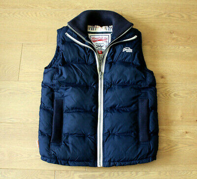 Superdry Men's Gilet Double Zip Blue Body Warmer Size Small Chest 38 in.