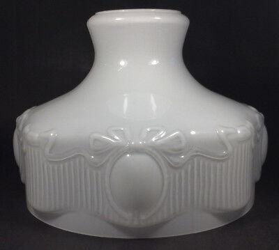 """NEW 10"""" Cased Opal White Ribbed Panel Oil Kerosene Lamp Shade fits Aladdin"""