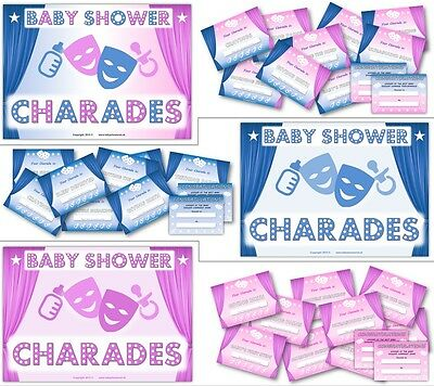 Baby Shower Charades (Baby Shower Party Games  -  BABY SHOWER CHARADES  -  Boy/ Girl /)
