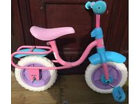 girls bike pink and blue aged 3 -5 without stabilisers but can be added (not supplied)