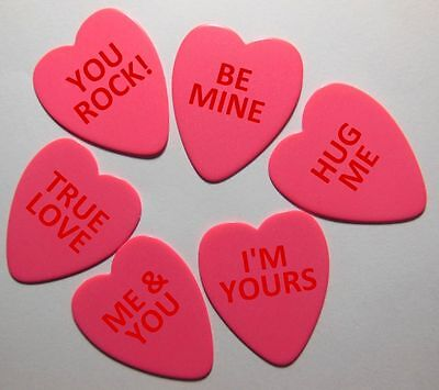 12pk Valentines Heart Shaped Guitar Picks .71mm Celluloid Medium Printed Pics