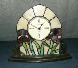 UNIQUE VINTAGE ART DECO STYLE STAINED GLASS & CAST METAL LINDEN MANTLE CLOCK!
