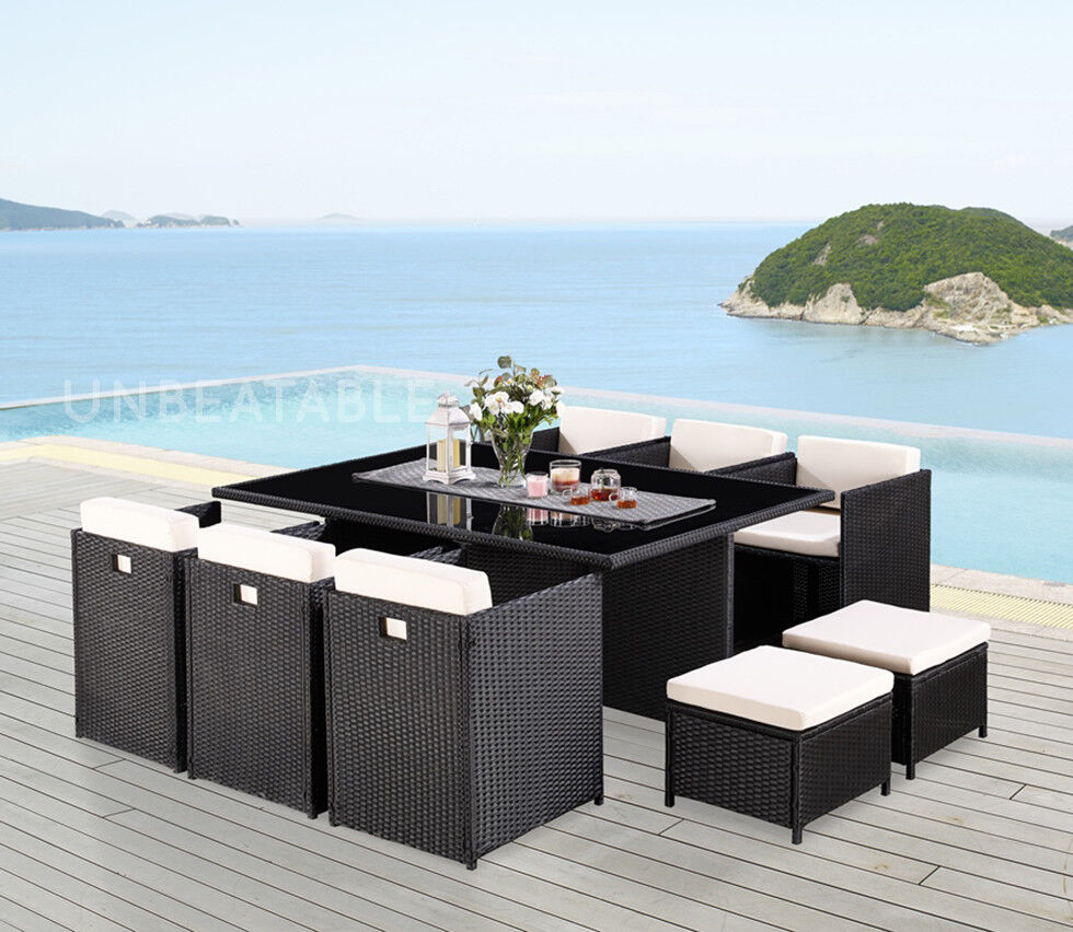 Garden Furniture - 11 Piece Rattan Garden Furniture Set Choice of Colour with Cover Option