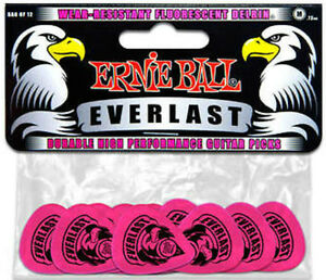 Ernie Ball Everlast Guitar Picks (Pack 12) - Medium - Pink