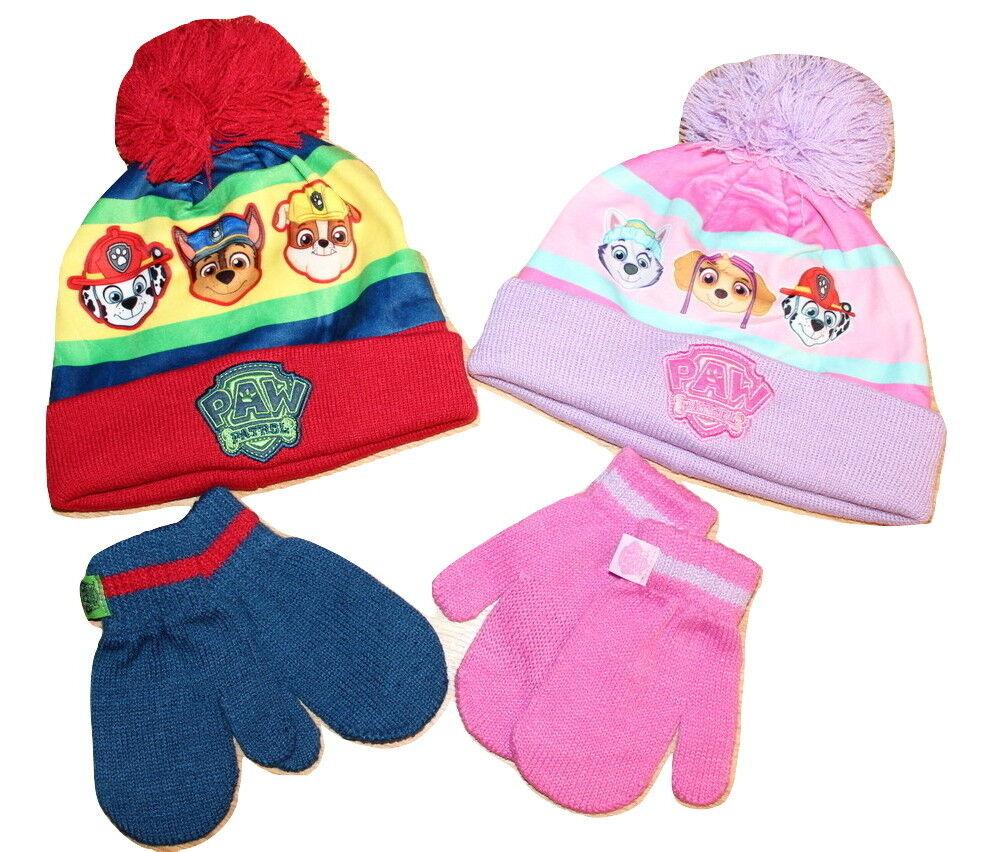Boys Girls Winter Hat And Gloves Kids Paw Patrol Beanie Winter 2pc Set New
