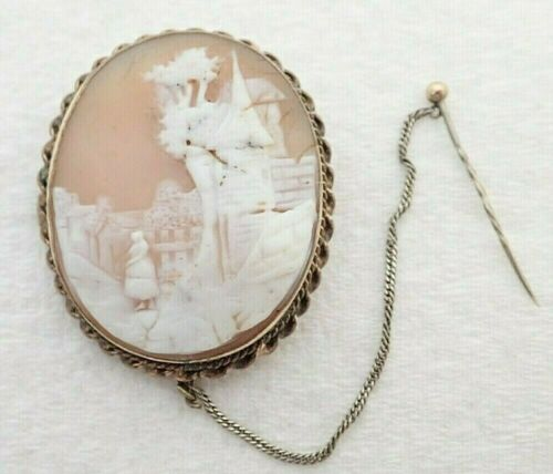 "Antique Gold Filled Carved Scene Cameo 1 3/4"" Brooch Pin"