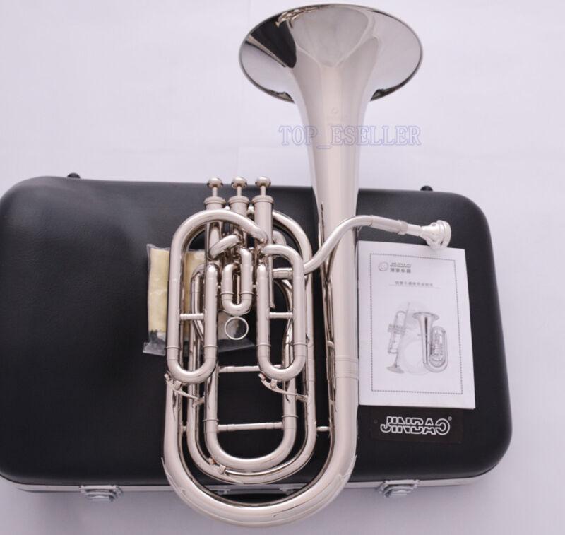 JINBAO Pro. Silver Nickel Compensating Baritone horn Bb key 3 Valves Hard Case