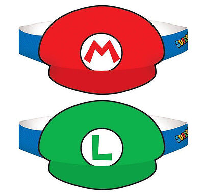 Super Mario Brothers Luigi Party Hats Birthday Decoration Favor Supplies Wii 8ct - Mario Brothers Decorations