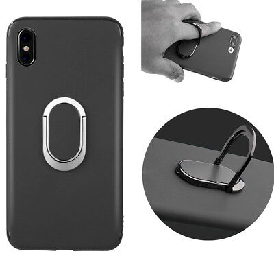 for iPhone X / XS / 10S - Black TPU Rubber Gummy Case Cover Magnetic Ring Stand