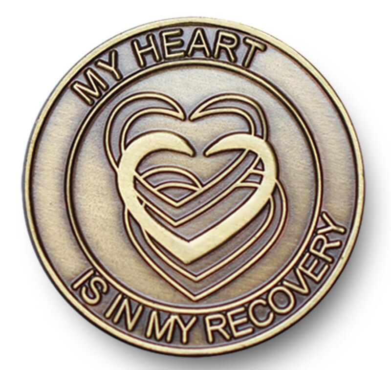 Antique Bronze My Heart Is In My Recovery AA/NA 12 Step Program  Coin/Token/Chip