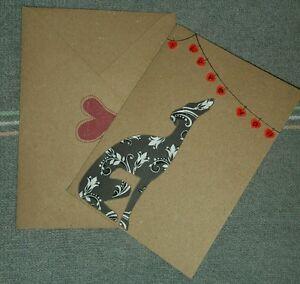 Beautiful hand made lurcher/sighthound/greyhound /whippet/dog valentine card