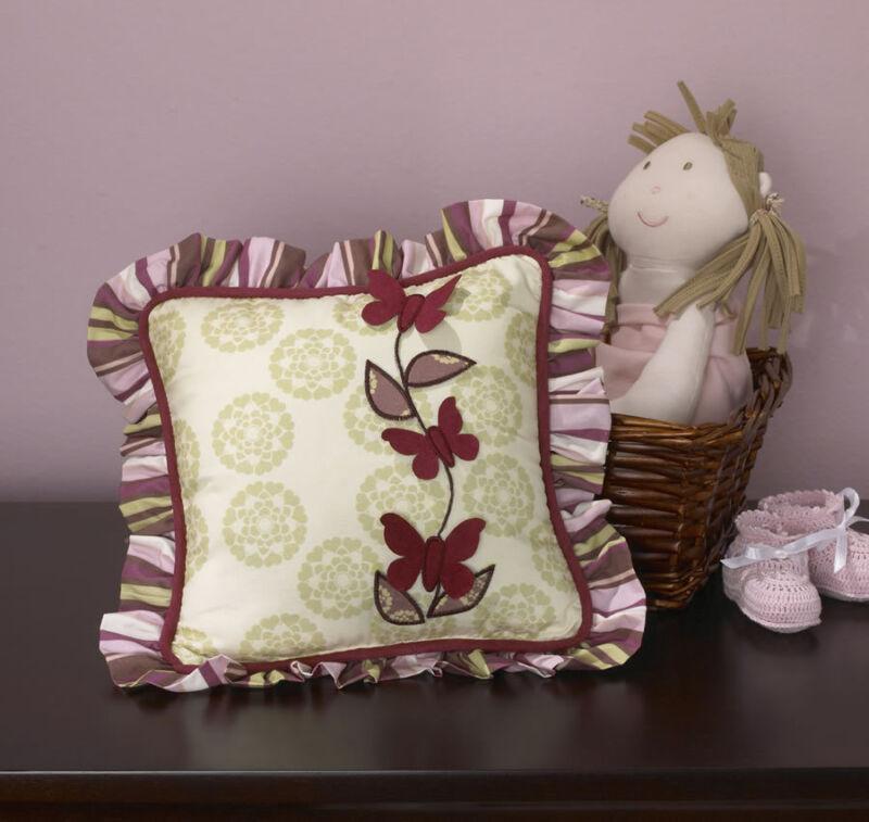 CoCaLo Baby Sophie Butterfly Applique Nursery Decorative Accent Pillow, Sage