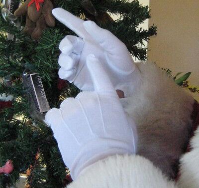 FW-8108 Men's Gloves Parade Santa Mime Tuxedo Wrist Snap Stretch Polyester White