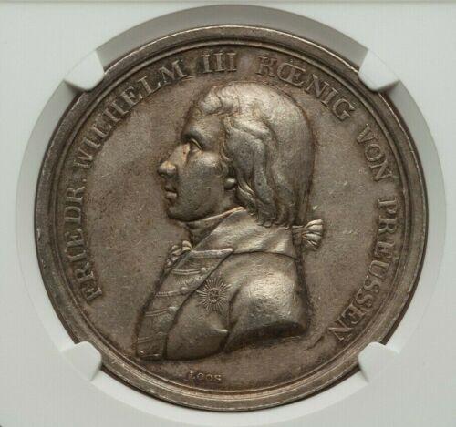 """1798 PRUSSIA FRIEDRICH WILHELM III SILVER """"BERLIN HOMAGE"""" MEDAL NGC AU50"""