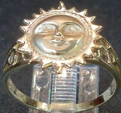 Gold SUN RING Good Luck 14K SOLID real yellow Lucky  9 6 7 8 10 11 3.4g