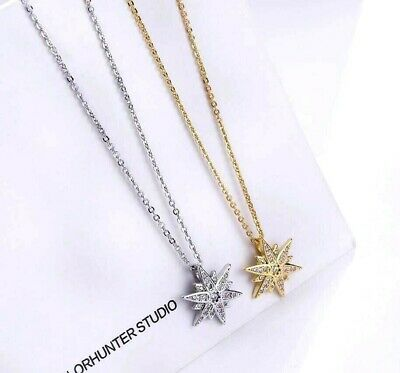 8-Pointed Star Pave Cubic Zirconia 925 Sterling Silver/Gold GP Pendant Necklace Gold Gp Pendant Necklace