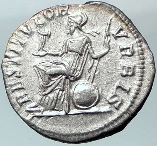 SEPTIMIUS SEVERUS 201AD Silver Ancient Roman Coin ROMA with Victory   i40667