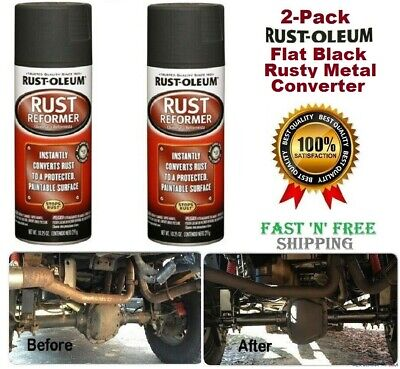 2-Pack Rust-Oleum Rust Metal Converter Flat Black Rust Reformer Spray Paint 10oz - 2 Pack Paints